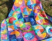 Bright Circle Batik  Twin Quilt