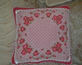 Handmade Pillow Vintage Handkerchief Pillow Pink Dot Roses Cushion