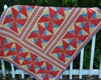 ON SALE Handmade Quilt Americana Red, Blue and Tan Star Lap Western Cowboy Country Cabin Picnic Summer Quilt