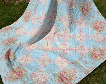 Handmade Quilt Cottage Chic Beach  Chic Robins Egg Blue and Pink Roses floral vintage look Quilt