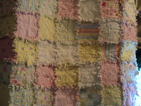 Flannel Yellow and Pink Baby Girl Rag Quilt