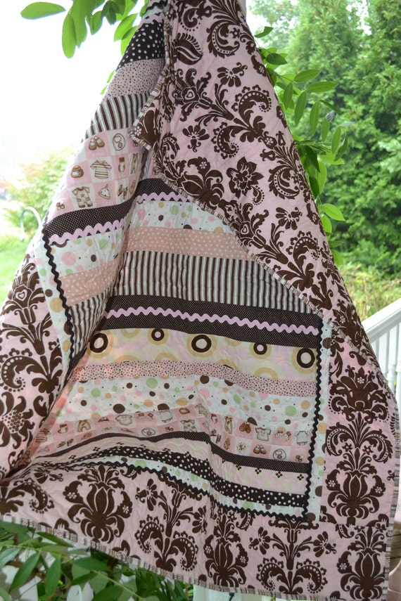 ON SALE Handmade Quilt Pink and Brown Damask Baby Girl crib Quilt
