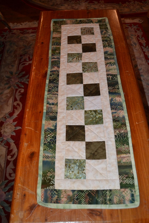 Handmade Quilted Runner Green  Batik Squares Table Table topper Placemat