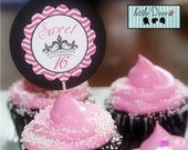 Sweet 16  Printable Cupcake Toppers / Tags