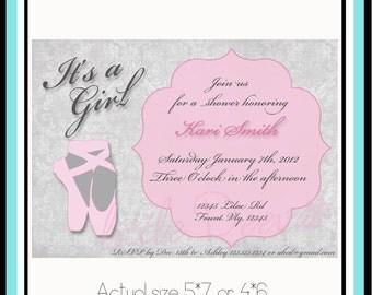 Ballerina Baby Shower or Birthday Invitation - Custom wording and color Invite