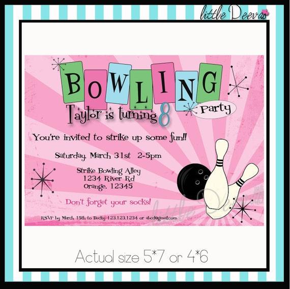 bowling birthday invitation custom wording and by littledeevas