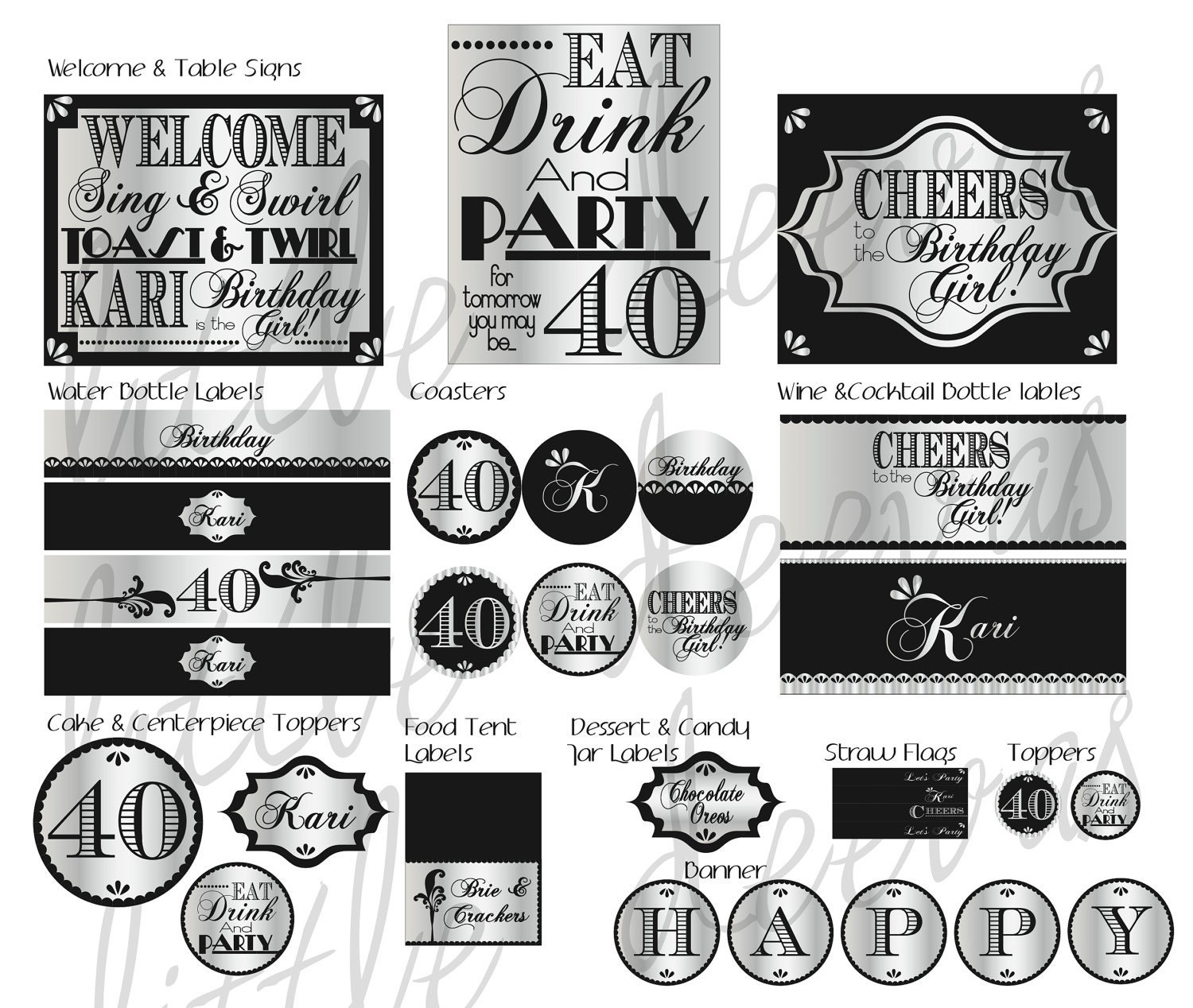 40th birthday pdf printable party pack by littledeevas on etsy for 40th birthday decoration packs
