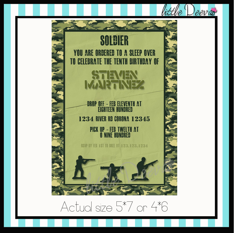 Army Military Invitation Custom Wording By