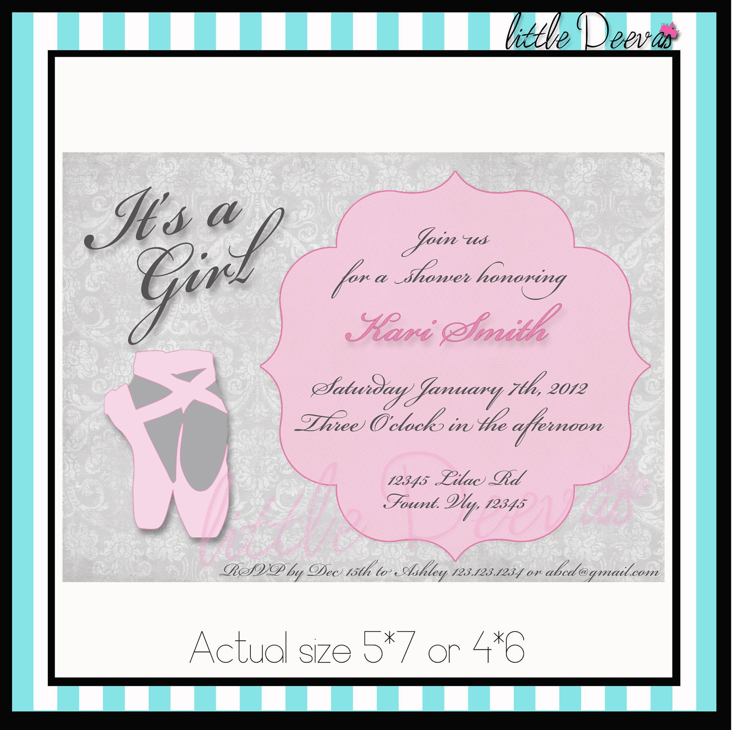 ballerina baby shower or birthday invitation by stateofblissevents