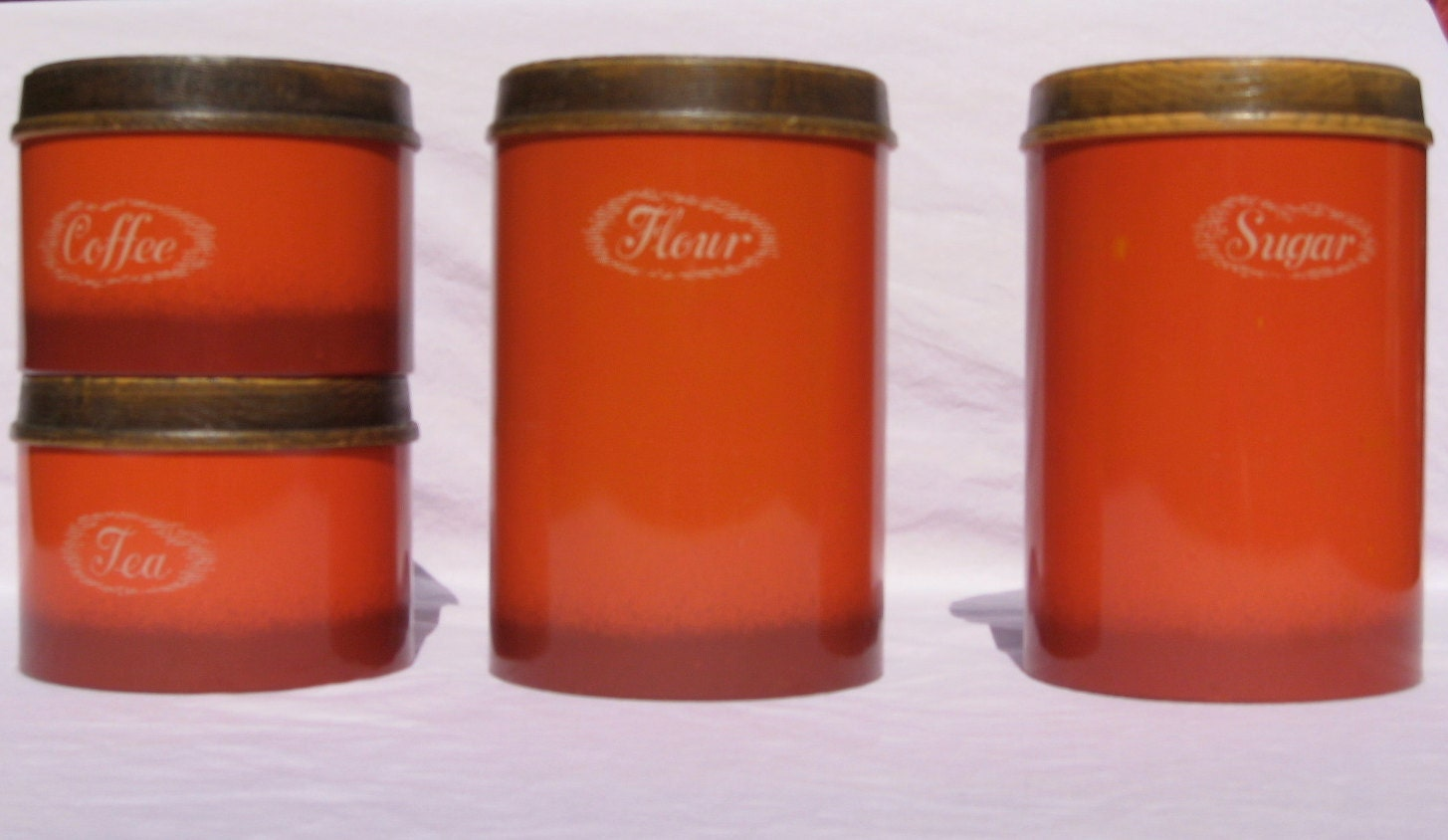 orange kitchen canisters four vintage cheinco burnt orange kitchen canisters from the 5421