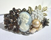 Cameo Jewelry, Vintage Style Collage Bracelet