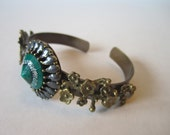CLEARANCE Green Bracelet, Green Cuff, Emerald Green,  Bridal Cuff