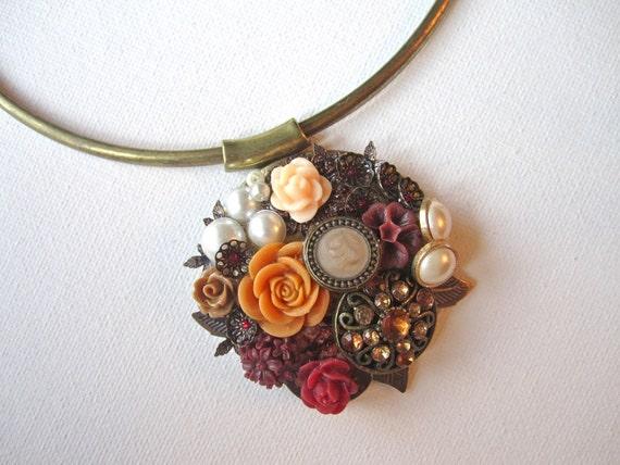 Shabby Chic Necklace, Collage Bridal Jewelry,Wedding Necklace, Bridal Neckalce