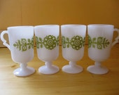 White and Green Milk Glass Tall Cups Set of Four