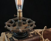 Upcycled Rusty Industrial Gear Valve Handle Edison Lamp