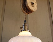 NOT AVAILABLE/Reserved for Julie Upcyled Vintage Farm Pulley Hanging Pendant Light