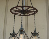 RESERVED for Diane/Upcycled Rusty Industrial Wheel Three Light Bulb Cage Chandelier