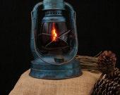 RESERVED for Flavia / Upcycled Vintage Blue Dietz Kerosene Lantern
