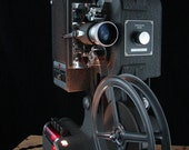 Upcycled Kodak 16mm Projector Lamp with Ivory Burlap Shade