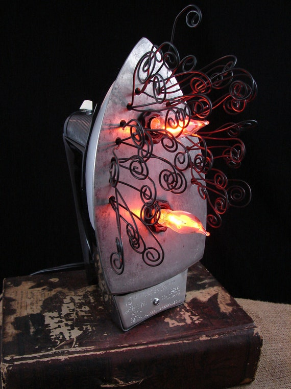 Upcycled Iron Lamp Steampunk Fabric Iron Lamp