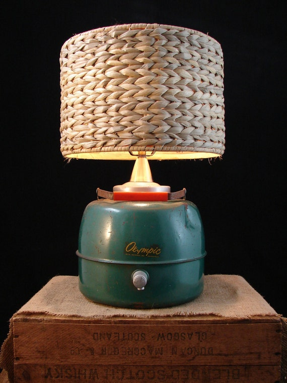 RESERVED Vintage Olympic Beverage Container Lamp with Seagrass Shade