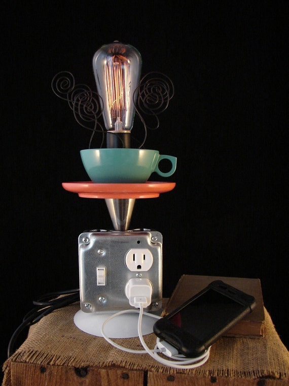Industrial Lamp with Coffee Cup and Phone Charging Station