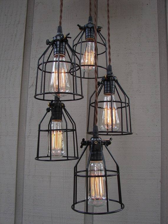 NOT AVAILABLE/Reserved for Nicole/Industrial Style 5 Light Pendant with Bulb Cages and Brushed Aluminum Canopy