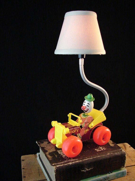 Upcycled Vintage Fisher Price Clown Jalopy Pull Toy Lamp