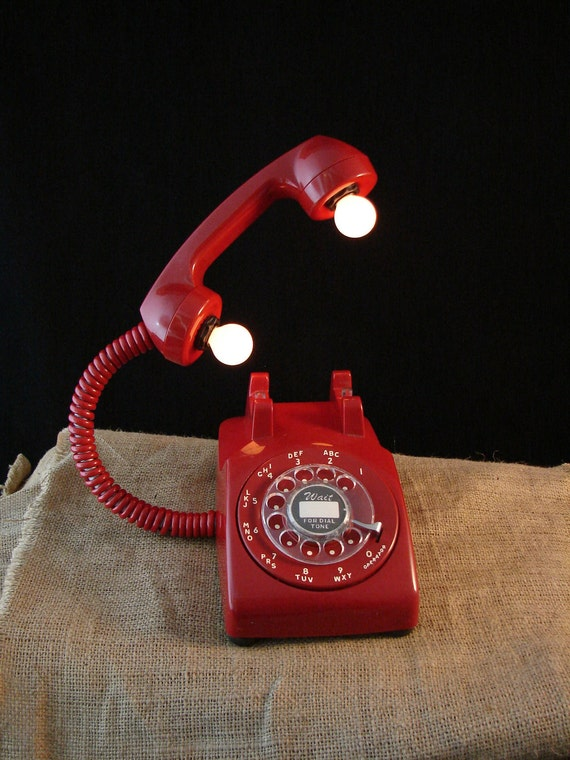 Upcycled Vintage Red Rotary Telephone Lamp