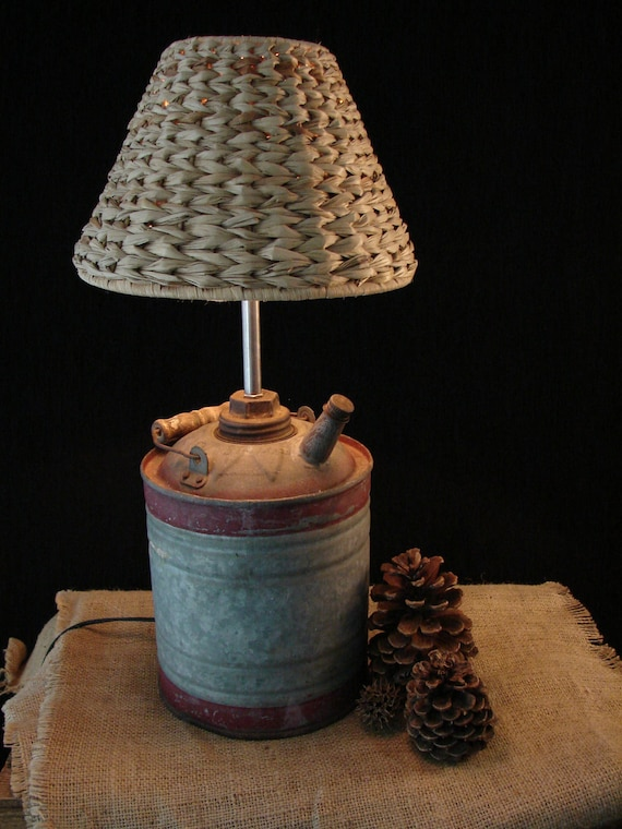 Upcycled Vintage Kerosene Can Lamp with Seagrass Shade