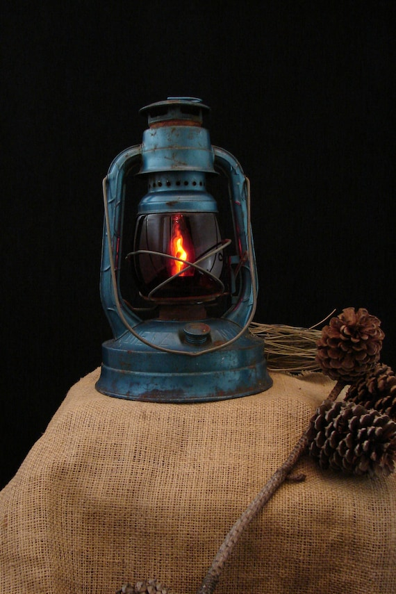 RESERVED for Flavia / Upcycled Vintage Blue Dietz Kerosene Lantern