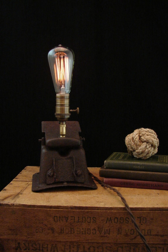 Upcycled Rusty Furnace Vent Edison Filament Bulb Lamp