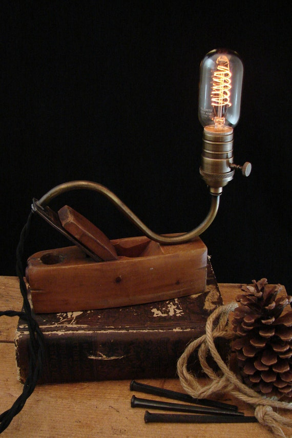 Upcycled Vintage Wood Plane Lamp with Spiral Filament Bulb