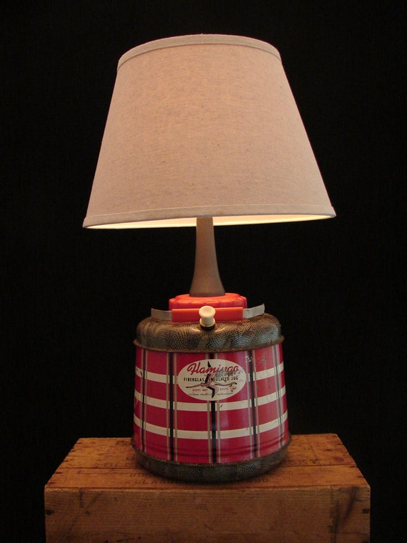 Upcycled Vintage Flamingo Beverage Jug Lamp