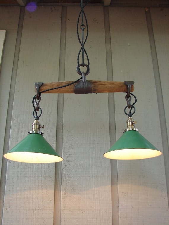 Upcycled Vintage Wooden Yoke Pendant with Vintage Industrial Shop Shades