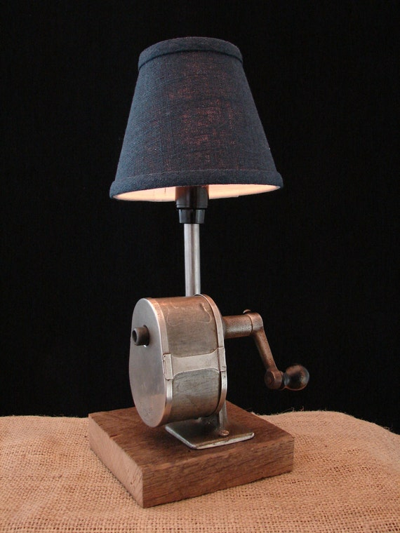 Upcycled Vintage Pencil Sharpener Lamp