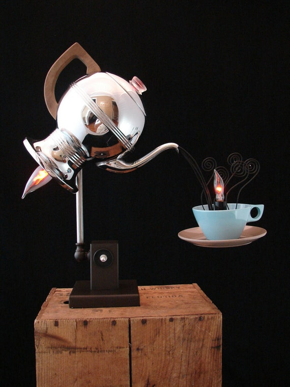 Upcycled Vintage Percolator Lamp with Melmac Cup and Saucer