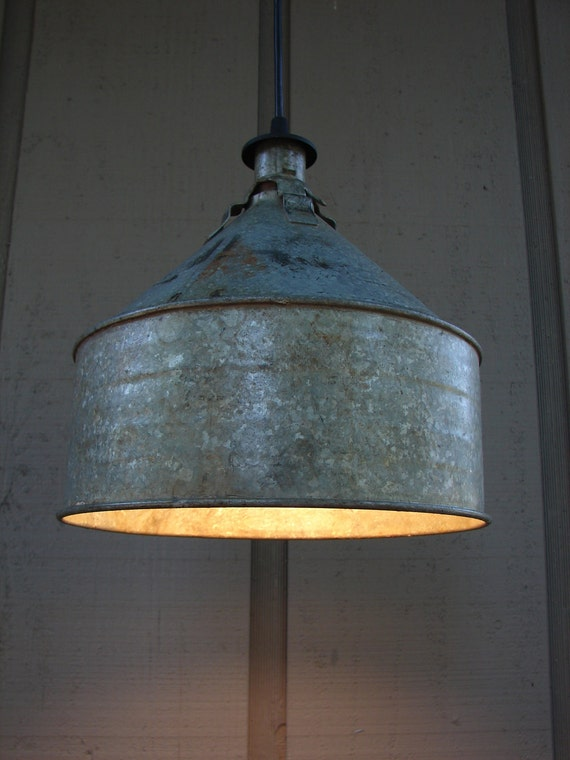 Upcycled Vintage Farm Funnel Pendant Light