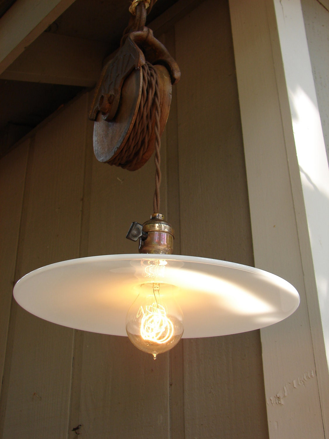 Lighting Pendant Farmhouse Hanging Pulley Edison Bulb