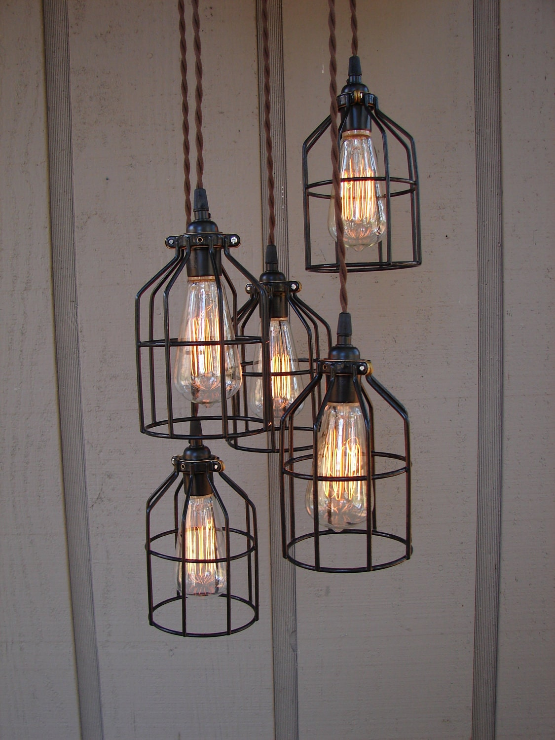 Reserved for sarah 5 light industrial bulb cage pendant with for Industrial bulb pendant