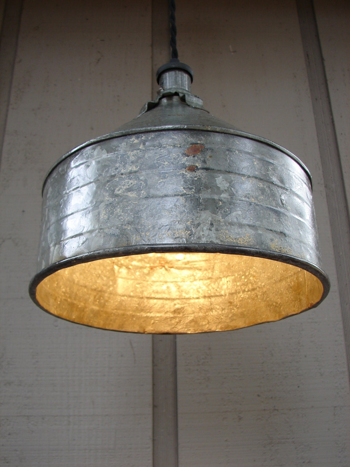 Upcycled Vintage Farm Funnel Pendant Light 2