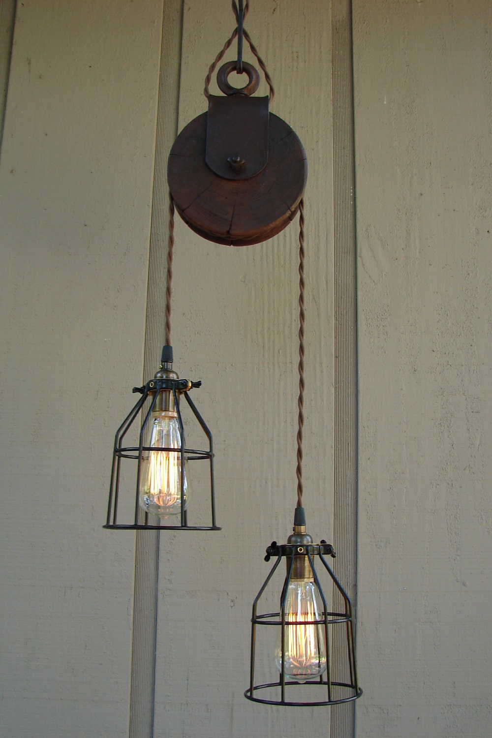 Reserved For Diane Upcycled Farm Pulley Lighting Pendant With