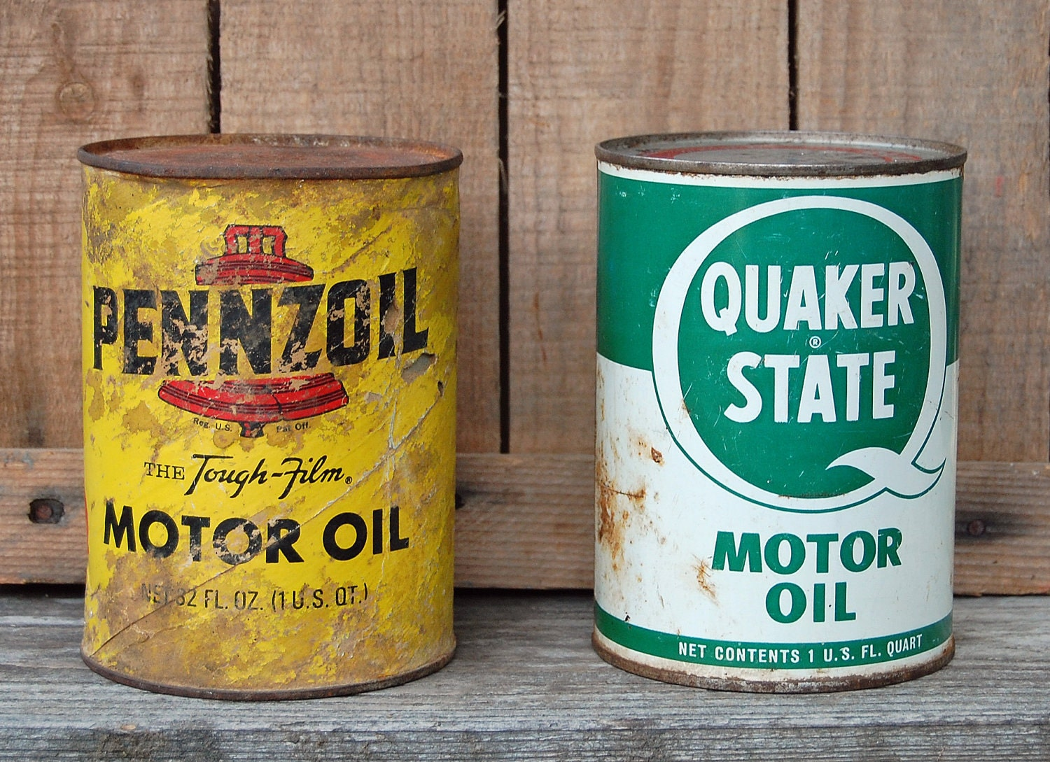 Vintage Quaker State And Pennzoil Oil Cans