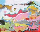 "Original Modern Abstract Acrylic Painting - ""Swirly Hearts"""