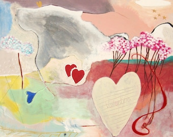 "Large Original Abstract Acrylic Painting on a 24 x 30 Canvas - Entitled ""Valentine"""