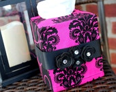 Fuchsia and black tissue box cover - TwoLittleLollipops