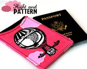 Passport Wallet, Cozy, Holder, Balloon, Pink and Black-Made to Order