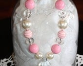 Vintage Pink is an adorable Chunky Bubblegum style Necklace with Jewel Pendant or Flower Pendant