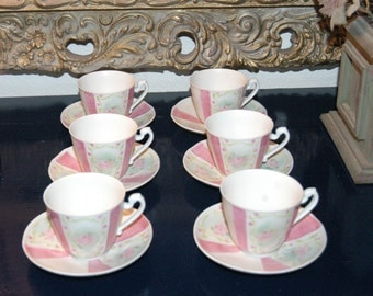 6 Hand painted Tea cups from Fuerstenberg Porcelain Germany