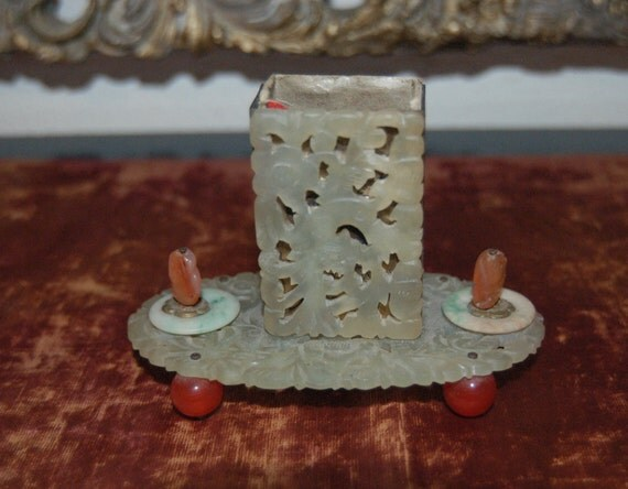 Antique late 19th Century Chinese Match holder in Jade and carnelian  FREE SHIPPING in the U.Reserved for Amy